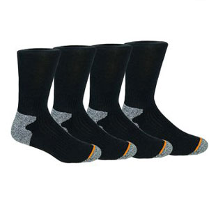 Weatherproof Premium 4-Pair Men's Wool Blend Crew Socks
